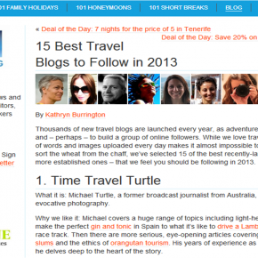 101 Holidays Highlighted Accidental Epicurean as a Best Travel Blog to Follow in 2013