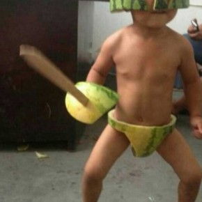 Accidental Funnies - Summer is Coming Soon to China... Kids Wearing Watermelons